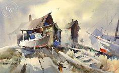 Boat Repair, California art by Robert Landry. HD giclee art prints for sale at CaliforniaWatercolor.com - original California paintings, & premium giclee prints for sale
