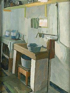 Liss Fine Art: Charles Mahoney - Kitchen at Oak Cottage, 1937