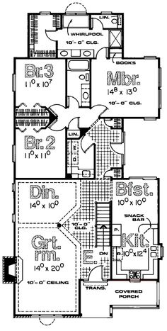 First Floor Plan of Traditional   House Plan 68685