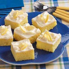 Lemon Sheet Cake ~ Wonderful potluck recipe ~ Lemon pie filling lends a splash of citrus flavor to convenient cake mix, and a rich cream cheese frosting gives it sweetness. My family likes this cake cold, so I cut it into squares and freeze before serving. -Alyce Dubisar, North Bend, Oregon