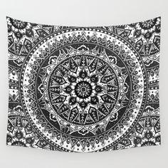 Black and White Mandala Pattern Wall Tapestry by Laurel Mae | Society6