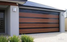Stylish Garage Doors   Wide Slat Wood and Glass Garage Door