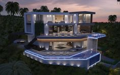 Fascinating luxury homes with futuristic architecture and breathtaking cityscape views. Architecture Design, Concept Architecture, Futuristic Architecture, Design Villa Moderne, Modern Villa Design, Modern Mansion, Exterior Design, Luxury Homes, House Styles