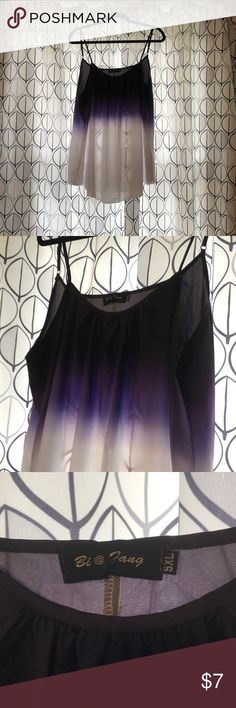 """Purple fade cami Top under the arms measures 23"""" across. I say this is an 18/20. It's from one of the overseas fast fashion houses so the states size is 5x.  NOT.   beautiful cami but beware it is see through.   Never worn. Bi @ Fang Tops Camisoles"""