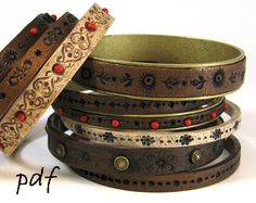 Skill level: beginner to advanced. In this step-by-step polymer clay tutorial I explain how to make beautiful bracelets that look convincingly like tooled leather. There are nearly 60 pictures in this tutorial. You will learn how to mix polymer clay in different colors, how to create faux leather texture, and how to shape the bracelets both with and without metal blanks. There is also a separate section with a lot of different ideas for decorating your bracelets. Please check out my other…
