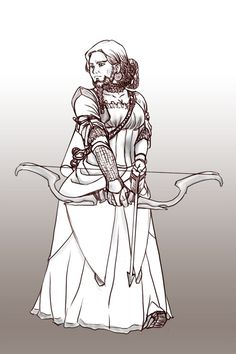 """Mizim, mother of Gimli and Gimrís, wife of Glóin as shown in """"Sansûkh,"""" a story by determamfidd at AO3. This is a beautiful rendition of a female dwarf, otherwise known as a dwarrowdam or dwarrowmaid, with a beard!"""