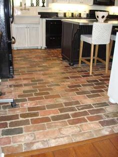 sealed brick floor for the kitchen - love the multicolor