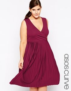 NEED NAVY ASOS CURVE Exclusive Wrap Dress with Pleats in Longer Length