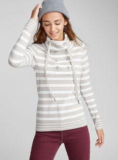 Buttoned mock neck sweater | Twik | Shop Women's Sweaters | Simons Women's Sweaters, Sweaters For Women, Mock Neck, Knitwear, Clothes For Women, Knitting, Grey, Shop, How To Wear