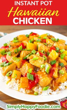 Instant Pot Hawaiian Chicken and Rice is a delicious one-pot meal. Both kids and adults love this recipe, with sweet pineapple chunks, tender chicken, and a sweet and tangy sauce. The rice cooks at th Pineapple Chicken Recipes, Hawaiian Chicken, Hawiian Recipes, Best Instant Pot Recipe, Instant Pot Dinner Recipes, Chicken Breast Instant Pot Recipes, Ribs, Pressure Cooker Recipes, Pressure Cooking