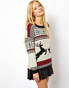 Image 1 of ASOS Christmas Sweater in Reindeer Fairisle - only available in size 14