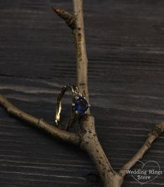 Twig engagement ring in yellow gold Womens branch ring