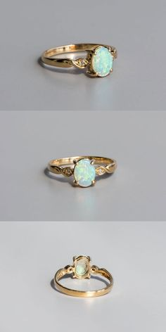 Classic Three Stone Oval Australian Solid Opal Engagement Ring 14K Yellow Gold in Vivid Green Blue Colors. Size 7. Free Gift Bag/Box with every order! Every Opal piece is Unique. You won't find two exactly identical opal gems because of their unrepeatable play-of-color.   eBay!