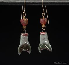 Ferdinand earrings, rustic ceramics in red and black with pure silver star dots and topped with recycled glass flower beads, unique OOAK