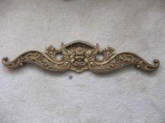 "RARE Angelic Wings Cupids w/Rose Stylish Gold Sculptural Wall &Door Pediment~40""   -----  Home & Garden>Home Decor>Wall Sculptures"