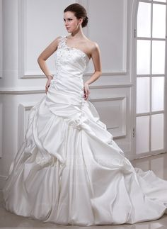 Ball-Gown One-Shoulder Chapel Train Satin Wedding Dress With Ruffle Beading Appliques Lace Flower(s) (002012104) - JJsHouse