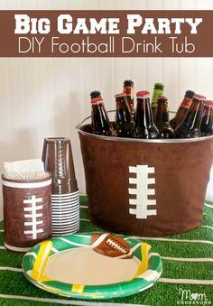 Football Party - DIY Football Drink Tub via momendeavors.com #football