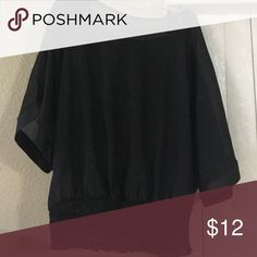 Gently used top Black and silver short sleeve sheer top Tops Blouses