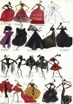Sketches from Christian Lacroix's first haute couture collection, 1987.