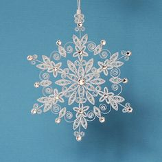 "Stunning Sparkler - ""Lighting up the World"" Stellar Dendrite Snowflake – Quilled / Filigree in Bright White - Christmas Tree Ornament by AGiftwithinaGift on Etsy"