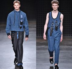 Xander Zhou 2016 Spring Summer Mens Runway Catwalk Looks - London Collections: Men British Fashion Council UK United Kingdom - Denim Jeans Chinese Embroidery Tabard Apron Bib Halter Top Clouds Streams Dragon Silk Cargo Pockets O-Ring Straps Anorak Outerwear Jacket Pants Trousers Bomber Jacket Scarf Yin Yang Sheer Chiffon Tulle Onesie Jumpsuit Coveralls Jacquard Waffle Quilted Stripes Adornments