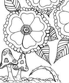 Floral Coloring Ornate Hand Illustrated Page Botanical Mushroom Download Adult