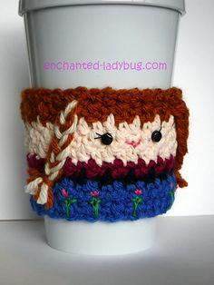 Ravelry: Frozen Anna Coffee Cup Cozy pattern by The Enchanted Ladybug Crochet Coffee Cozy, Coffee Cup Cozy, Crochet Cozy, Frozen Crochet, Crochet Disney, Crochet Baby Beanie, Crochet Kids Hats, Crochet Animals, Ladybug Crafts