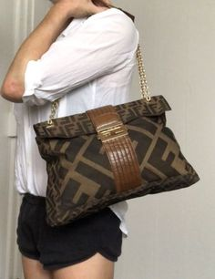 820b57471e Auth FENDI Mamma Baguette Zucca Shoulder Bag Brown Black Canvas Leather  NR12533