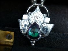 lotus pendant by sirenjewels on Etsy