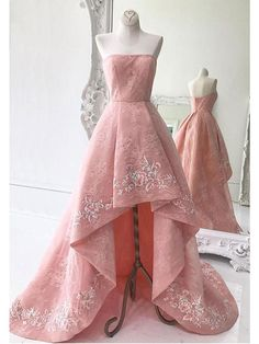 High-Low Prom Dresses Pearl Pink Strapless Asymmetrical Lace Long Prom Dress/Evening Dress JKL267