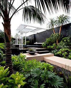 Canary Islands Spa Garden by Amphibian Designs - James Wong & David Cubero… Tropical Garden Design, Tropical Landscaping, Backyard Landscaping, Tropical Gardens, Luxury Landscaping, Tropical Plants, Outdoor Areas, Outdoor Rooms, Outdoor Living