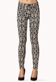 Baroque Skinny Jeans   FOREVER21 We love colored denim! #Denim #Skinnies #Printed