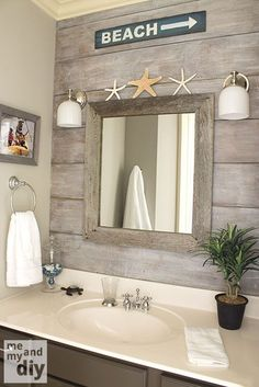 "Wall Decor Quotes For Living Room beach theme bathroom - love the ""drift wood"" behind the mirror.Wall Decor Quotes For Living Room beach theme bathroom - love the ""drift wood"" behind the mirror Beach Theme Bathroom, Nautical Bathrooms, Beach Room, Beach Bathrooms, Beachy Bathroom Ideas, Beachy Bathroom Decor, Bathroom Inspiration, Bathroom Kids, Beach House Bathroom"