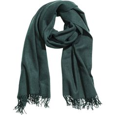 H&M Wool scarf ($40) ❤ liked on Polyvore featuring accessories, scarves, petrol, fringe scarves, short scarves, fringe shawl, woolen shawl and wool shawl