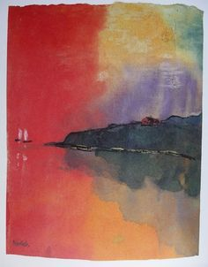Emil Nolde, Red Sunset on ArtStack #emil-nolde #art