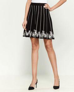 Knit Flare Knee Length Skirt Fit And Flare Skirt, Zig Zag Pattern, Size Model, Female Models, High Waisted Skirt, Ballet Skirt, Knitting, Lady, Skirts