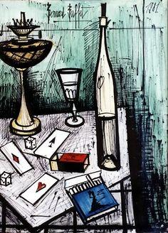 Bernard Buffet - Les trois as - 1981, mixed media on paper - 65 x 50 cm