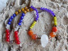 Chakra gemstone crystal skull necklace by KANDYLEES on Etsy