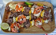 Grilled Shrimp and Steak Kabobs with Grilled Tomato Salsa