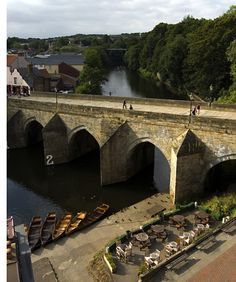 Elvet Bridge, Durham as Seen from the Prince Bishops car park. The bridge links the peninsula to the Elvet area of the city, and is a Grade I listed building. It was constructed in 1160 and has a total of 10 arches. The number 2 is for the guidance of the many rowers who use the river - denoting the 'hard' arch for rowers; number 1 is the 'easy' arch.