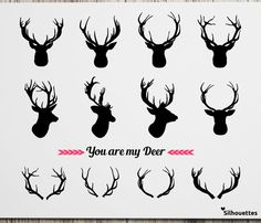 Deer head horn silhouette eps svg dxf jpg png by LoveSilhouettes Deer Head Decor, Spirit Wear, Epoch, Vinyl Cutter, Monograms, Body Art Tattoos, Horns, Wall Decals, Stencils