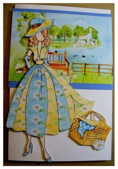 Made by Carla Brooke Prima Paper Dolls, Prima Doll Stamps, Scrapbook Paper Crafts, Scrapbooking, Book And Frame, Paint Cards, Handmade Tags, New Dolls, Card Sketches