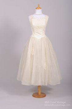 1960's Tea Length Lace Embroidered Chiffon Vintage Wedding Dress