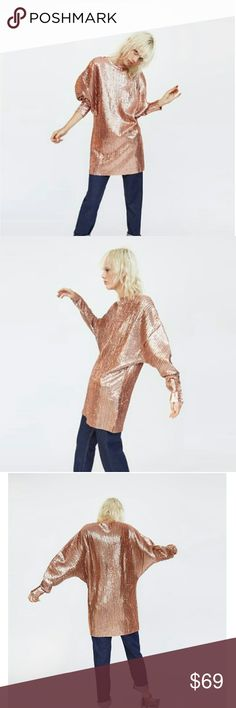 Weekend sale! Zara sequined dress (PRICE IS FIRM) Brand new. Shown worn as a top or dress  Reduced from $79. NO OFFERS Zara Dresses