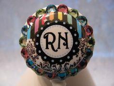 RN ID Badge Holder Retractable Reel using Swarovski Elements by sparklinghope on Etsy https://www.etsy.com/listing/218625106/rn-id-badge-holder-retractable-reel