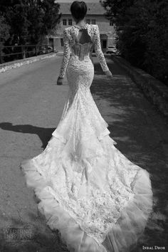 beautiful train! inbal dror bridal 2013 lace gown tiered train long sleeve lace jacket