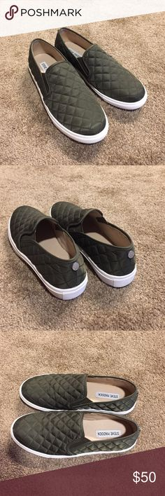 Steve Madden olive green slip on sneakers Steven Madden olive green quilted slip on sneakers. Size 8. Have worn once as you can see on bottom of shoe photo. Excellent condition! Steve Madden Shoes Flats & Loafers