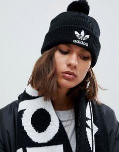 ADIDAS ORIGINALS EMBROIDERED LOGO POM POM BEANIE IN BLACK - BLACK.  adidasoriginals  Adidas Beanie 115dde470d9