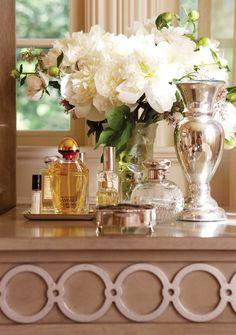 Bedside table/dressing table/bathroom vanity tablescape idea.