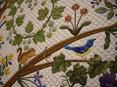 鳥のアップリケキルト
